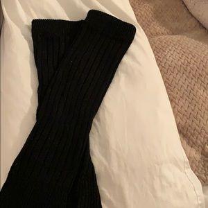 Black knit leg warmers